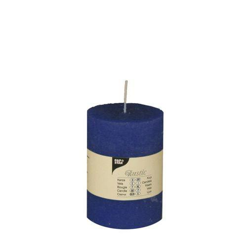 Partytischdecke.de | Rustik Kerze dunkelblau Ø 7 cm x Höhe