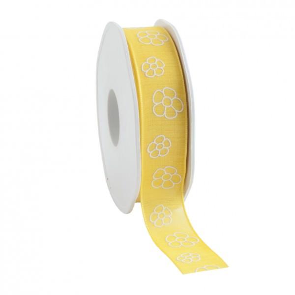 Partytischdecke.de | Satinband Natural Flowers 22 mm x 15 m gelb