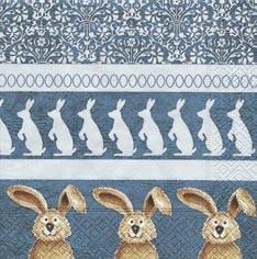 Partytischdecke.de | Servietten 33x33 Parade of Bunnies 20 Stück