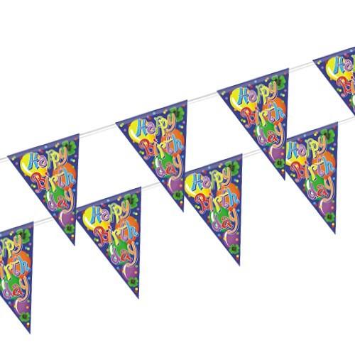 Partytischdecke.de | Wimpelkette Folie 4 m Happy Birthday 1 Stück