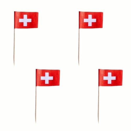 Partytischdecke.de | Deko-Picker 8 cm rot-weiss Schweiz 100 Stück
