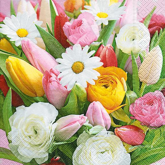 Partytischdecke.de | Serviette bunte Blumen 25x25