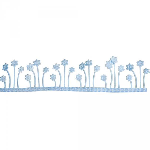 Partytischdecke.de | Dekoband Blumenwiese, selbstklebend hellblau 4 cm x 2 m Rolle