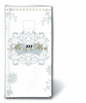 Motiv Taschentücher Päckchen Mr. & Mrs. gold 10 Stück