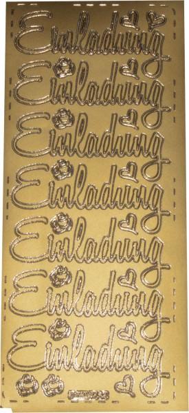 Stickerbogen Einladung gold 1 Stück