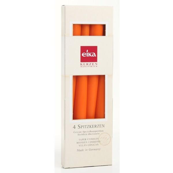 Partytischdecke.de | Eika Spitzkerze orange 8h 4er Pack