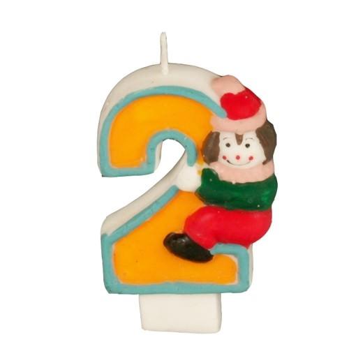 Partytischdecke.de | Zahlenkerze 8 cm  | 2 |  Clown 1 Stück