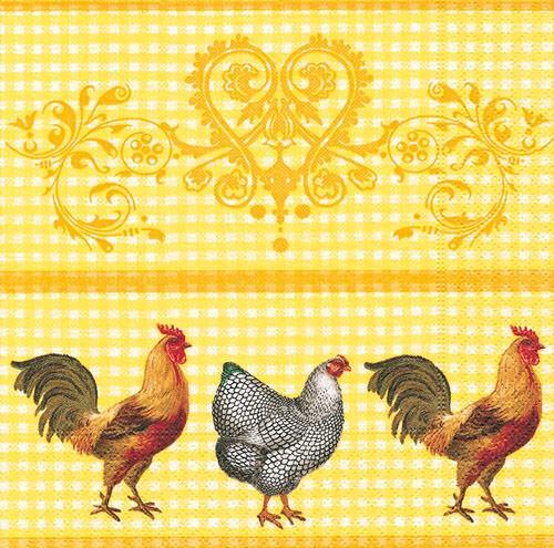Partytischdecke.de | Servietten 33x33 Rooster in the yard 20 Stück