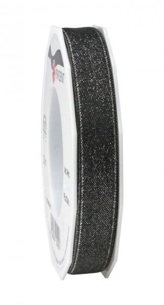 Partytischdecke.de | Satinband Glitter 15 mm x 20 m schwarz-silber