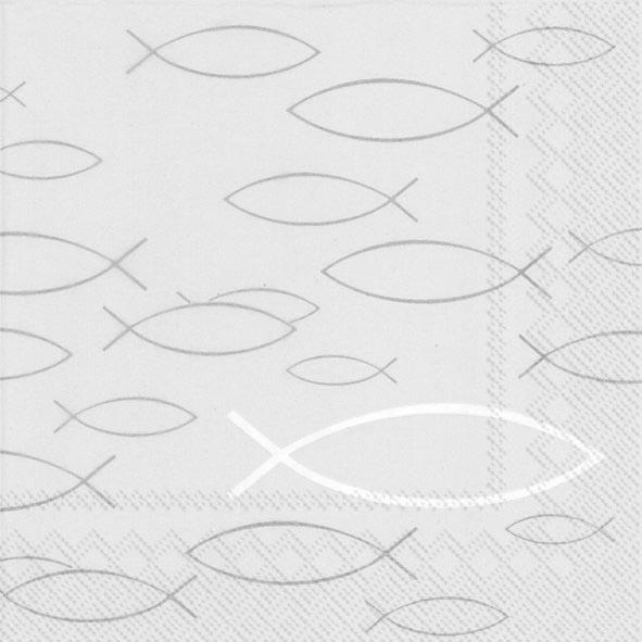 Partytischdecke.de   IHR Serviette 33x33 PEACEFUL FISH grey