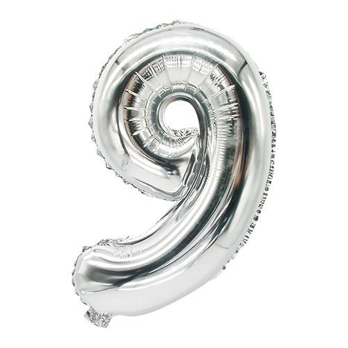 Partytischdecke.de | Folienluftballon 35 cm x 20 cm silber NEUN
