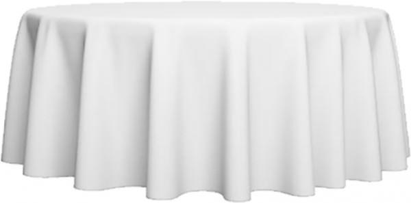 Tischdecke Ø 180 cm weiss, Baumwolle-Damast Uni glatt 215 g/m²