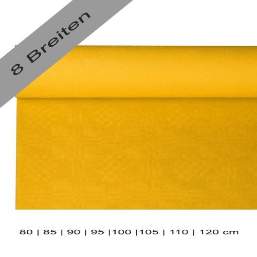 Partytischdecke.de | Papiertischdecke Damastprägung 8 lfm gelb