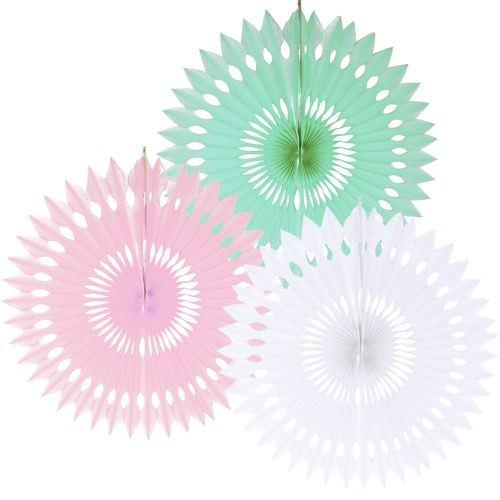 Dekofächer Ø 40 Pastel mint-rosa-weiss 3er Set