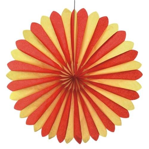 Partytischdecke.de | Dekofächer Ø 60 cm rot-gelb-rot Spain 1 Stück