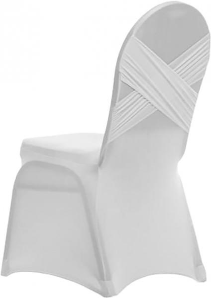 Stuhlhusse Strech rund Elegant weiss 1 Stück