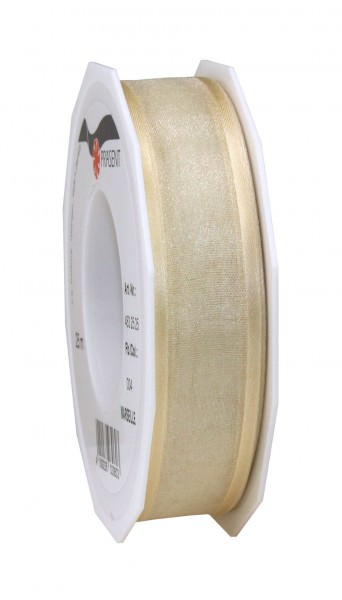 Satin-Organza Band 25 mm x 25 m ivory 1 Rolle