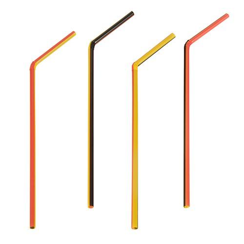 Partytischdecke.de | Trinkhalme flexibel Ø 5 mm 21 cm schwarz-rot-gelb 40er Pack