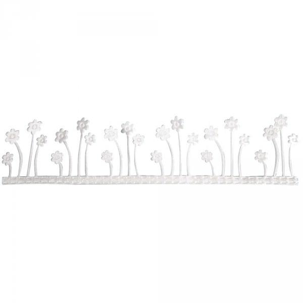 Partytischdecke.de | Dekoband Blumenwiese, selbstklebend weiss 4 cm x 2 m Rolle