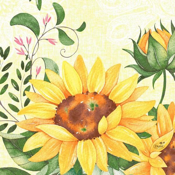 Partytischdecke.de | Duni Serviette Tissue 33x33 Sunflower