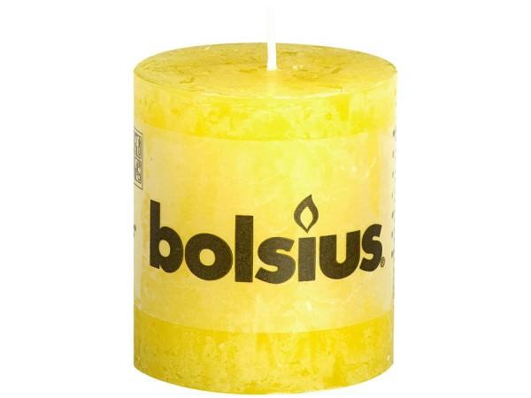 Partytischdecke.de | Kerze Bolsius Rustic Ø 6,8 x 8 cm gelb