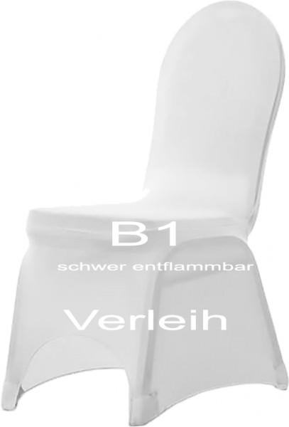 Verleih B1 schwer entflammbare Stuhlhusse Strech weiss 1 Stück