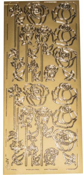 Stickerbogen Rosen gold 1 Stück