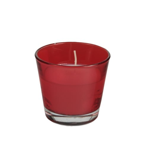 Glas mit Wachsfüllung Ø 90 x 80 mm rot 4 Stück