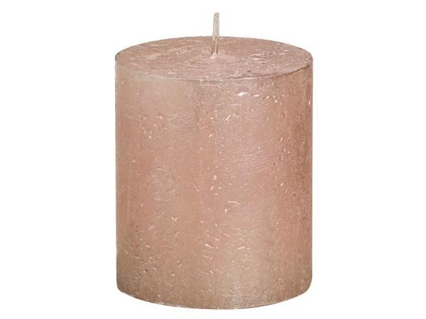 Partytischdecke.de | Kerze Bolsius Rustic Ø 6,8 x 8 cm Metalic roségold
