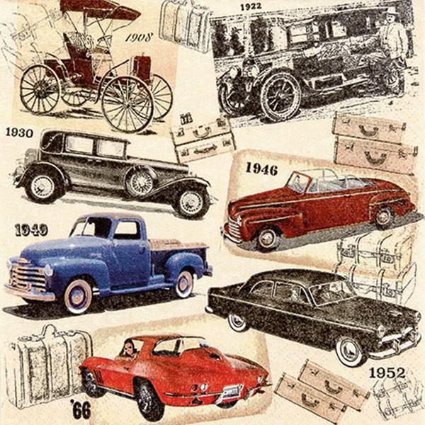 Partytischdecke.de | Servietten 33x33 Classic Cars