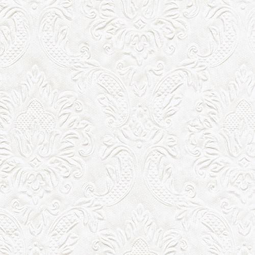 Partytischdecke.de | Serviette perlmutt weiss 33x33 Moments Ornament 16 Stück