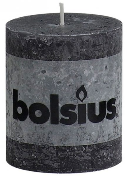 Partytischdecke.de | Kerze Bolsius Rustic Ø 6,8 x 8 cm anthrazit