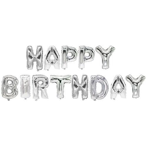 Partytischdecke.de | Folienluftballon 35 cm silber Happy Birthday