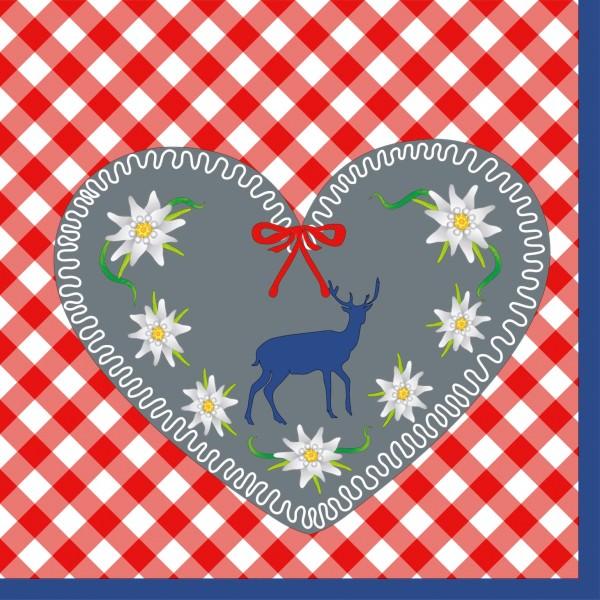 Partytischdecke.de | Duni Serviette 33x33 Floral Hearts