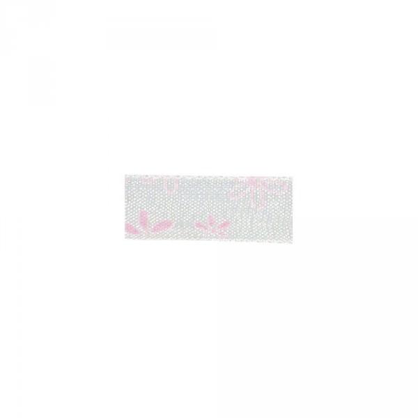 Partytischdecke.de | Dekoband Organza Blümchen pink 1 cm x 10 m Rolle
