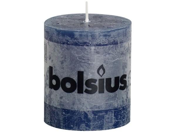 Kerze Bolsius Rustic Ø 6,8 x 8 cm dunkelblau
