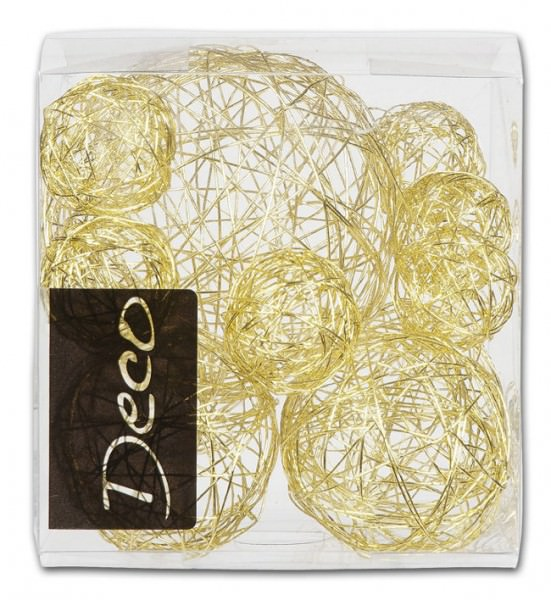 Partytischdecke.de | Drahtbälle Set 10 tlg. weißgold in Klarsichtbox