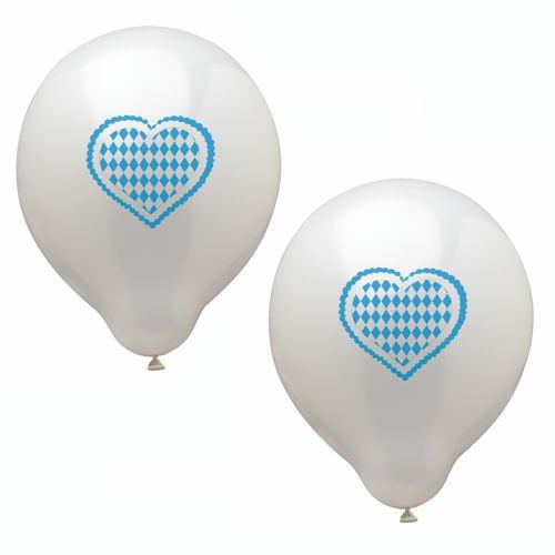 Partytischdecke.de | Luftballons Ø 25 cm weiss mit Bavaria Herz 20 Stk.