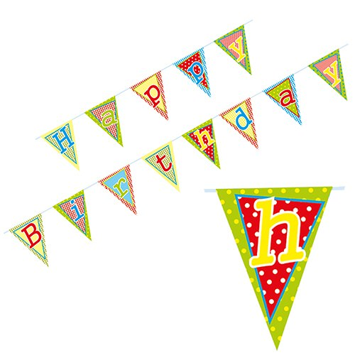 Partytischdecke.de | Wimpelkette papier 4 m Happy Birthday 1 Stück