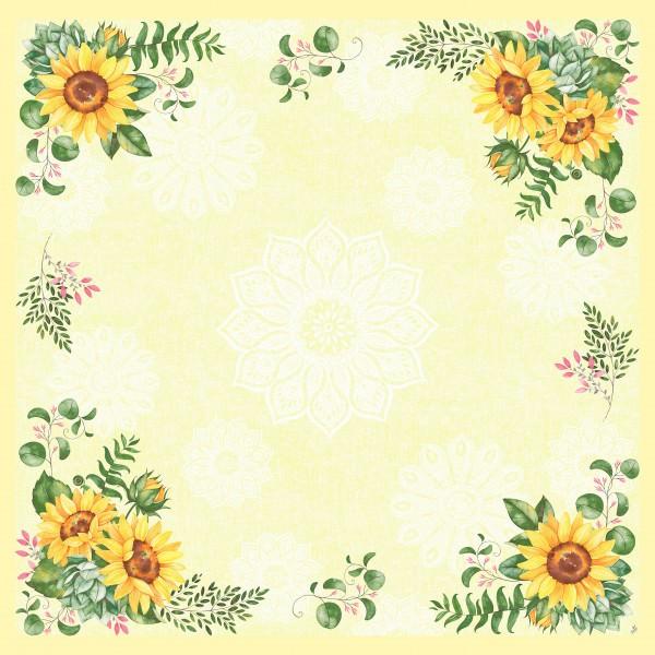 Partytischdecke.de | Mitteldecke 84 x 84 cm Duni Dunicel Sunflower