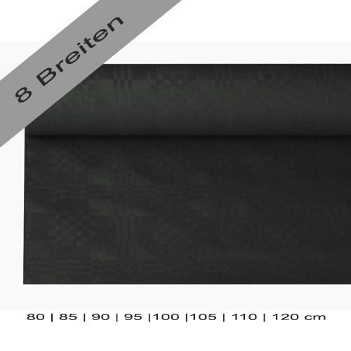 Partytischdecke.de | Papiertischdecke Damastprägung 8 lfm schwarz