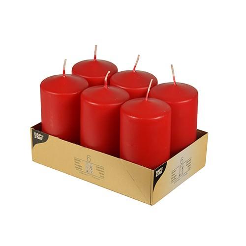 Stumpenkerzen Ø 6 x 11,5 rot 6er Pack