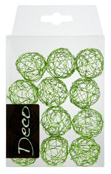 Drahtbälle 30 mm apfelgrün in Klarsichtbox 12 Stück