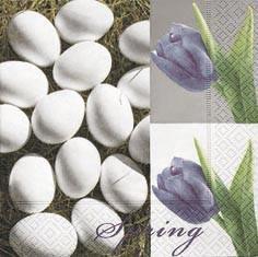 Partytischdecke.de | Servietten 33x33 Eggs & Tulips 20 Stück