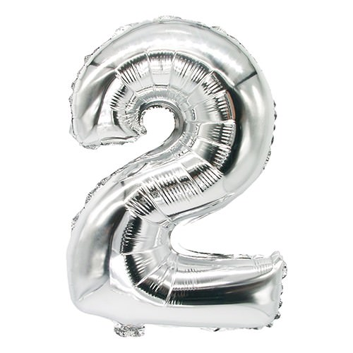 Partytischdecke.de | Folienluftballon 35 cm x 20 cm silber ZWEI