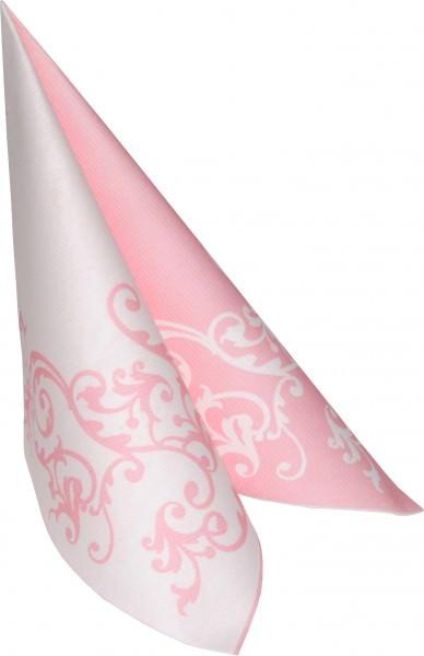 Partytischdecke.de   Serviette 40x40 Mank Airlaid Pomp rose-weiss