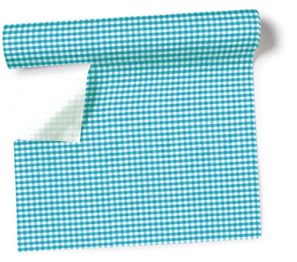 Partytischdecke.de | Tischläufer 40 cm x 3,60 m Vichy turquoise
