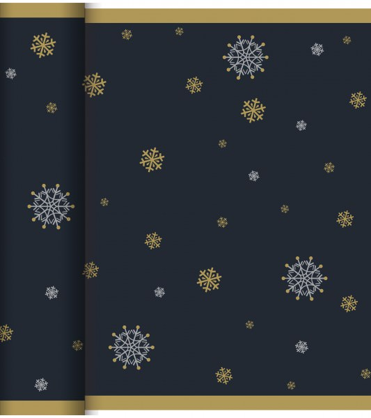 Partytischdecke.de | Duni Tischläufer Dunicel Tète-à-Tète 0,4x24 Snowflake Necklace Black