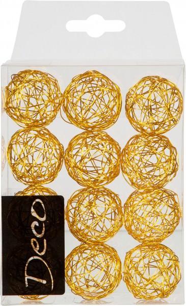 Drahtbälle 30 mm gold in Klarsichtbox 12 Stück